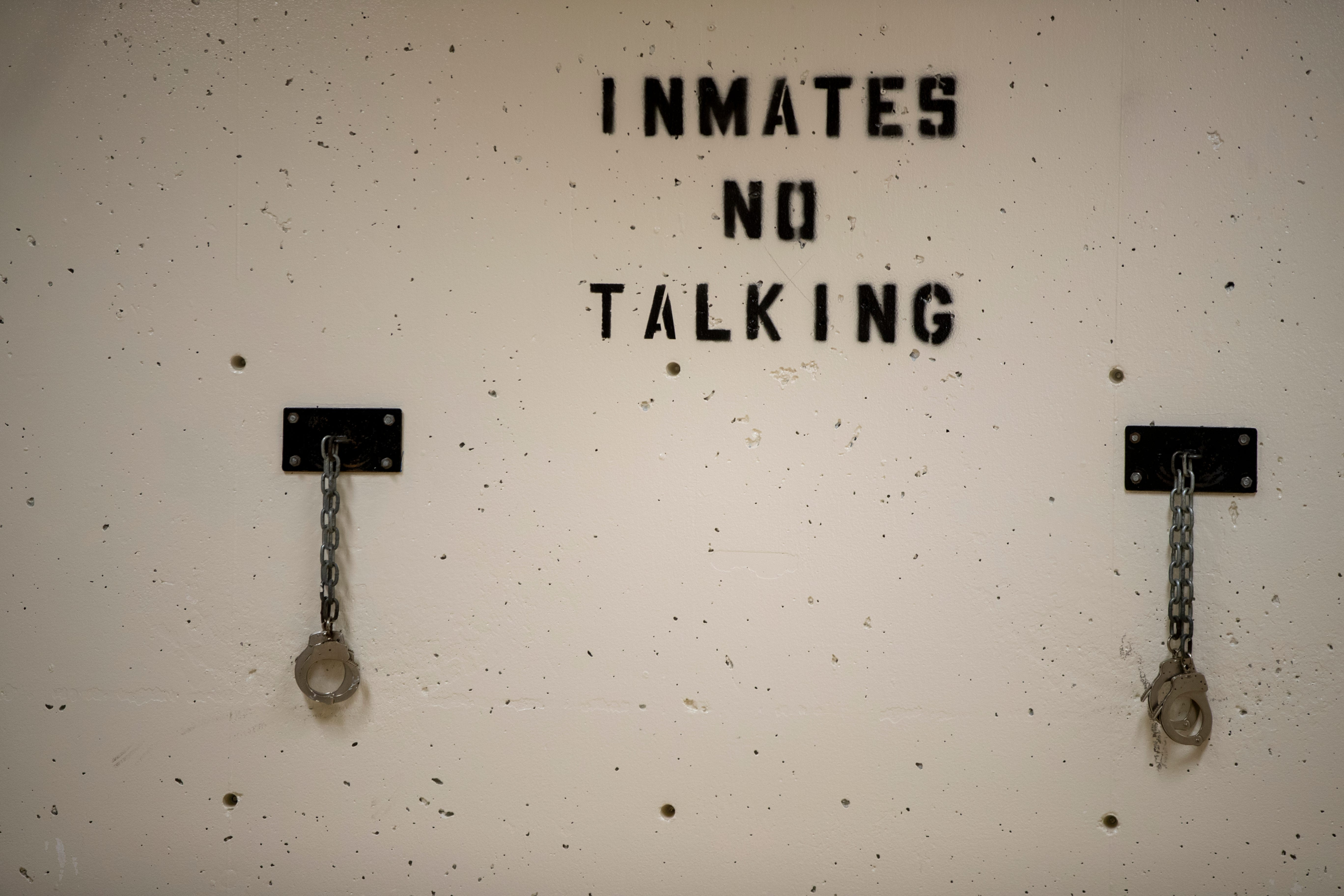 These wall-mounted hand cuffs are rarely used, but occasionally allow a jail official to lock a detainee to a wall in this open hallway at the Allen County Jail in Ft. Wayne, Ind.