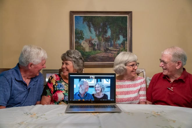Henry and Patti Favorite (left), Sandy and Eldon Kibbey (right), and Don and Peggy Beck look at each other and smile Tuesday, June 29, 2021, during an interview at the home of the Kibbey's. Patti, Sandy and Don are siblings, all celebrating their 50th wedding anniversaries this year.