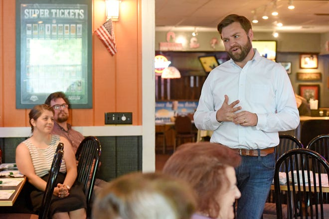 U.S. Senate candidate J.D. Vance speaks at a meet and greet hosted by Richland County Republican Women at MVP's Sports Bar and Grille on Tuesday.