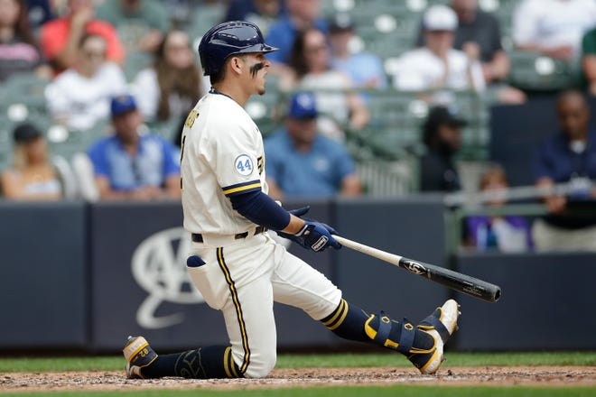 MILWAUKEE, WISCONSIN - JULY 20: Luis Urias #2 of the Milwaukee Brewers strikes out in the eighth inning against the Kansas City Royals at American Family Field on July 20, 2021 in Milwaukee, Wisconsin. (Photo by John Fisher/Getty Images)