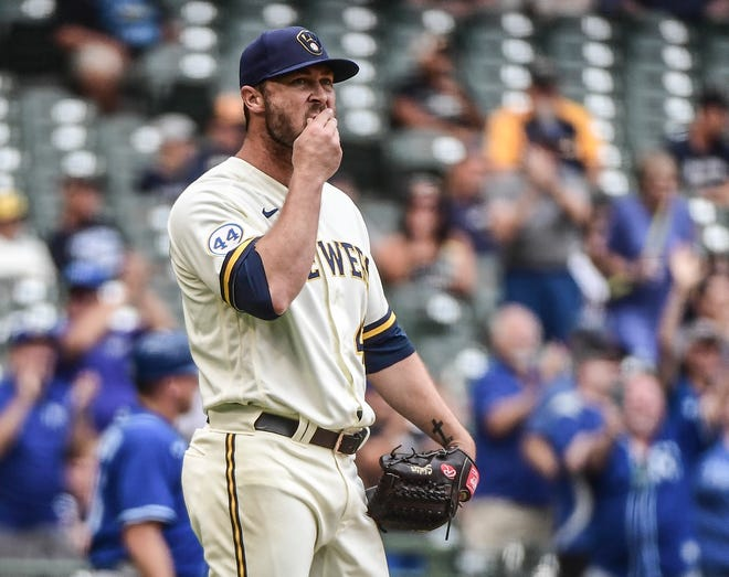 Hunter Strickland is one of two Brewers who have been placed in 10-day quarantine, along with Jake Cousins, after testing positive for coronavirus. Jandel Gustave was quarantined due to close contact.