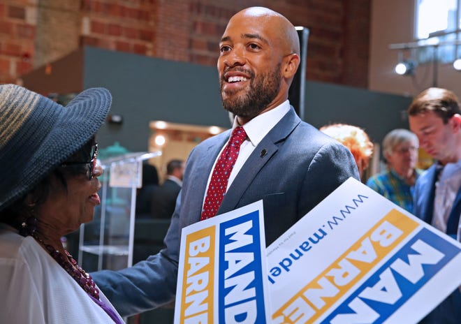 Wisconsin Lt. Gov. Mandela Barnes talks with supporter Annie Woodward after announcing that he will be running for U.S. Senate on Tuesday, July 20, 2021, at Sherman Phoenix, 3536 W. Fond Du Lac Ave., Milwaukee.