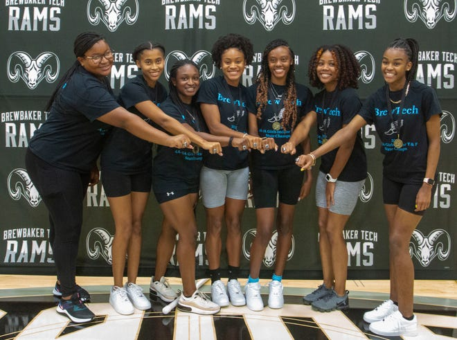 All seven members of Brewbaker Tech's indoor track team were honored for their state championship at the school Monday, July 19, 2021.
