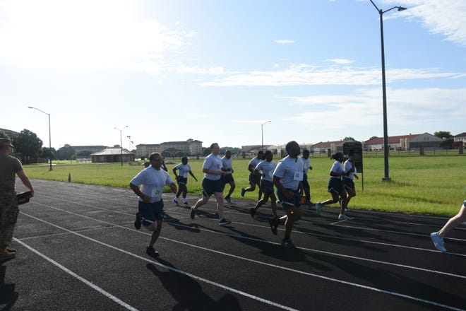 Several members of the 908th Airlift Wing participate in the aerobic portion of the Air Force Physical Fitness Assessment test, here, Saturday, July 10. Over the Unit Training Assembly weekend of July 10-11, more than 100 Reserve Citizen Airmen from the 908th participated in the testing which provided wing leadership with important data.