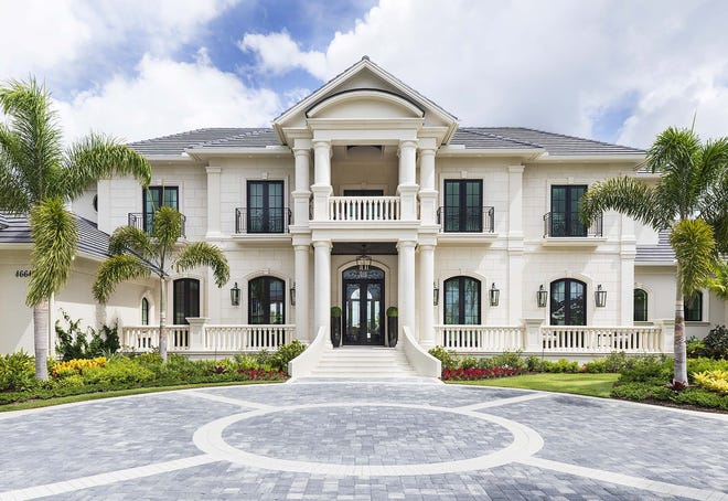 An exterior view of Diamond Custom Homes' new 16,047-square-foot estate home in Talis Park.