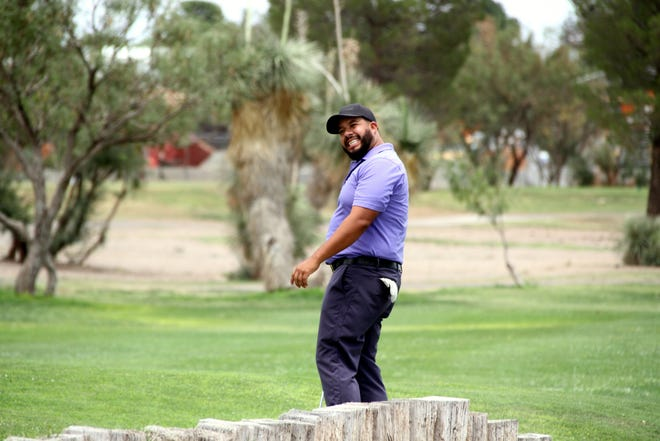 David Moreno grimaces after leaving a putt short during Sunday's Championship round at the 67th annual Rio Mimbres Invitational Golf Tournament.