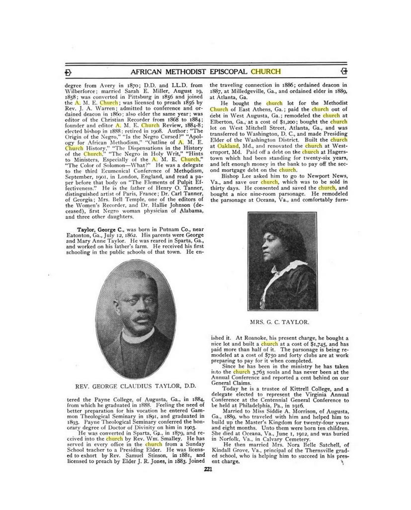 The A.M.E. Centenniel Encyclopedia credits the Rev. George Claudius Taylor with building the Oakland church.