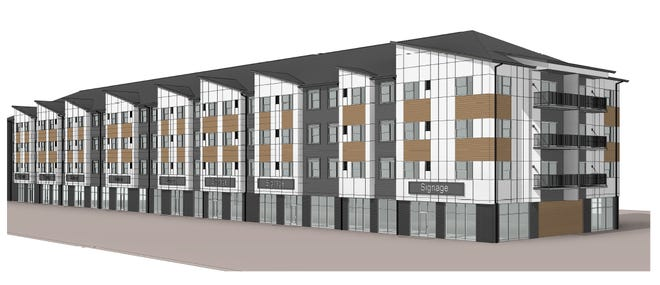 The Carlton at Dawley Farm, a mixed-use apartment and office space, is currently under construction at 5501 E. 18th St.