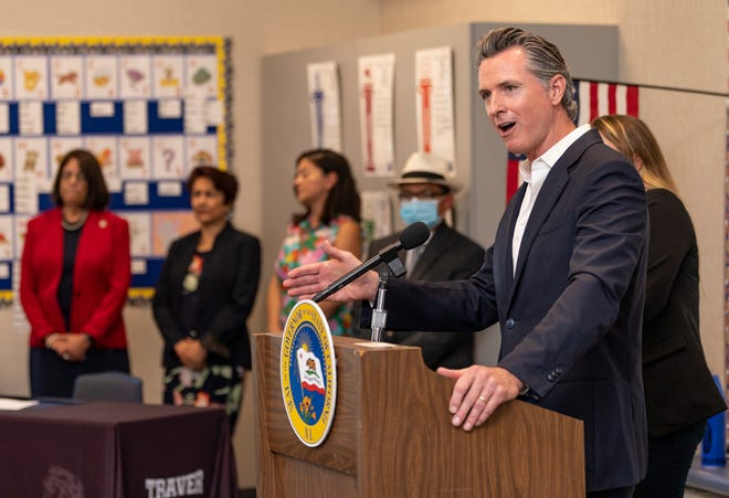 Gov. Gavin Newsom speaks at Traver Joint Elementary School in Tulare County on Tuesday, July 20, 2021.