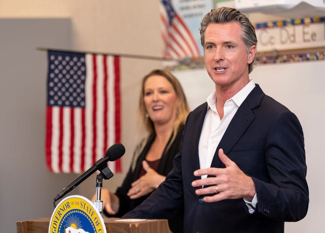 Gov. Gavin Newsom speaks at Traver Joint Elementary School in Tulare County on Tuesday, July 20, 2021. He and officials from other counties discussed the state's plan to achieve equitable statewide access to high-speed broadband internet service. He also signed SB 156 a bill that includes $6 billion towards broadband expansion throughout California.