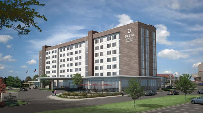 Artist rendering of new Delta by Marriott hotel to be building on the grounds of the MPEC.