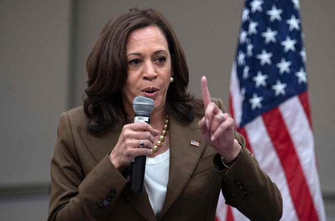 Vice President Kamala Harris gestures as she speaks July 13, 2021, while meeting with Democratic members of the Texas State Legislature at the American Federation of Teachers building near the Capitol in Washington, D.C.