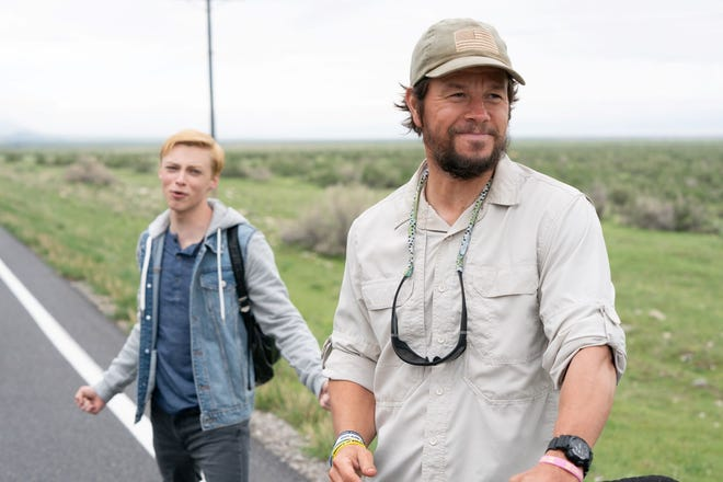 """""""Joe Bell"""" follows Joe's (Mark Wahlberg, right) trek across the country to teach a message of tolerance and the harmful effects of bullying as a way to honor his 15-year-old gay son Jadin (Reid Miller, left)."""