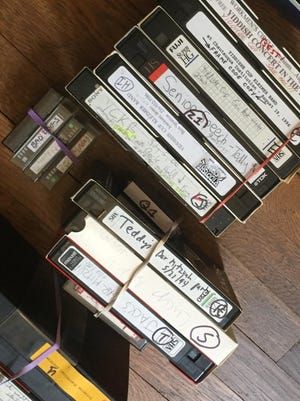Bert Stratton's VHS tapes in Cleveland, Ohio, in June 2021.