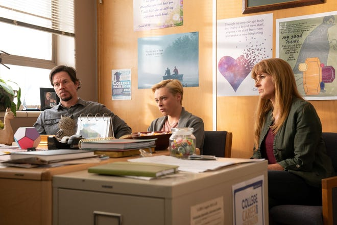Jadine (Reed Miller, center) in a scene with parents Joe (Mark Wahlberg) and Lola (Connie Britton).
