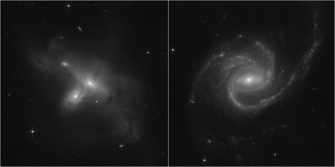 Hubble's first images after a mysterious glitch show a pair of colliding galaxies on the left and a large spiral galaxy on the right.