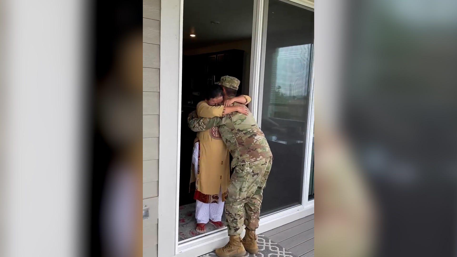 Grandma's hug is everything to returning soldier