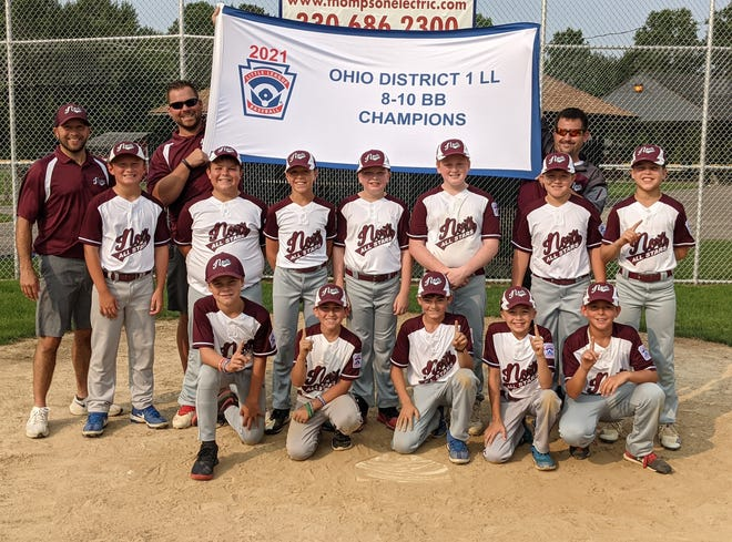 The Cuyahoga Falls North 10U Little League team is heading to the state tournament. Front row, L to R: Andrew Deering, Cayden McVicker, Nathan Miller, Jason Moore, Ricky Jordan. Middle row, L to R: Chuck Gasior, Dusty Bormet, Quinn Springer, Carter Laney, Von Hoerig, Mason Woods, Nathaniel Lahoski. Back row, L to R: Assistant coach Josh Moore, assistant coach Tim Deering, head coach John McVicker.