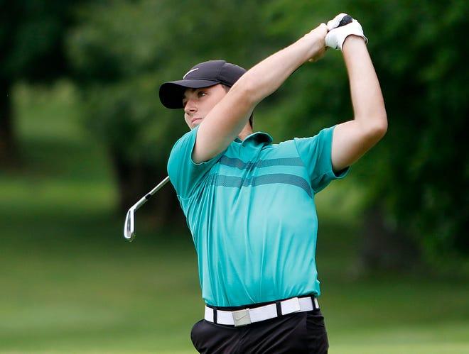 Kamden Mowry watches his tee shot on number nine during the Times-Gazette Junior Golf tournament Wednesday, July 21, 2021 at Brookside Golf Course. TOM E. PUSKAR/TIMES-GAZETTE.COM