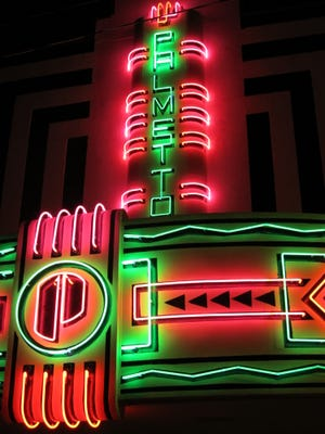 The Palmetto Theater marque at night is a landmark sight on historic Lee Avenue in Hampton, S.C.