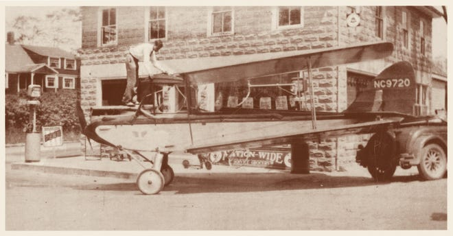 Back in 1930, this Gipsy Moth single-engine aircraft stopped at the Cash Market in Marstons Mills to gas up.