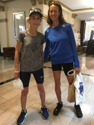 Doylestown's Tracey Sawyer, right, had a chance to meet Joan Benoit Samuelson, gold medal winner in the women's marathon at the 1984 Los Angeles Olympic Games.