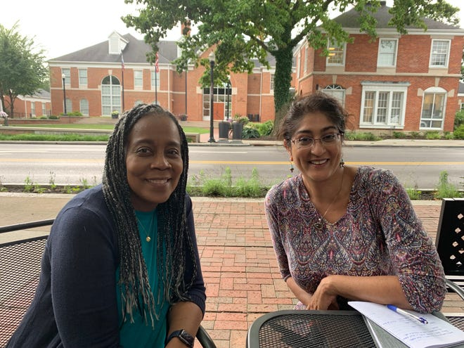 Renée Thompson, the first executive director for Westerville for Racial Equity, Inclusion and Social Justice Engagement (WeRISE), has an initial meeting with Aneeza Pasha-Stamm, equity development specialist with the Westerville Public Library, on July 8 at Java Central, 20 S State St. in Westerville.