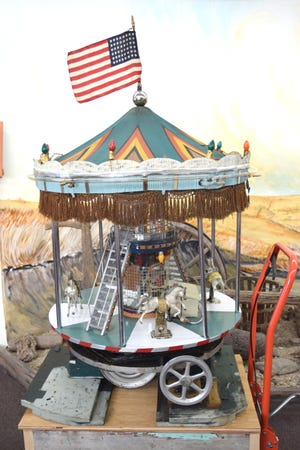 The vintage carousel that's being restored