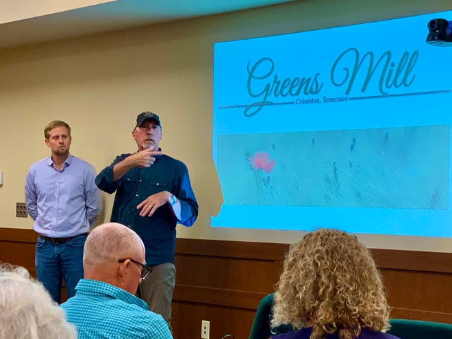 From left, developers Koby DuMont and Ty Hasty kick off a town hall meeting for concerned citizens regarding a proposed 700-home neighborhood off Greens Mill Road in Columbia.