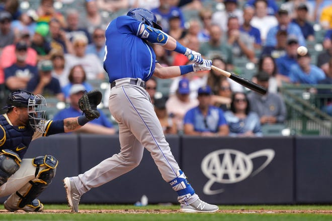 Kansas City Royals' Ryan O'Hearn hits a two-run home run during the seventh inning of Tuesday's game against the Milwaukee Brewers. The Royals claimed a 5-2 win.