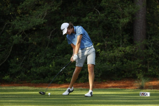 Carson Brewer, hitting a tee shot in the second round of stroke play in the U.S. Junior Amateur on Tuesday, went on to win his first-round match on Wednesday.