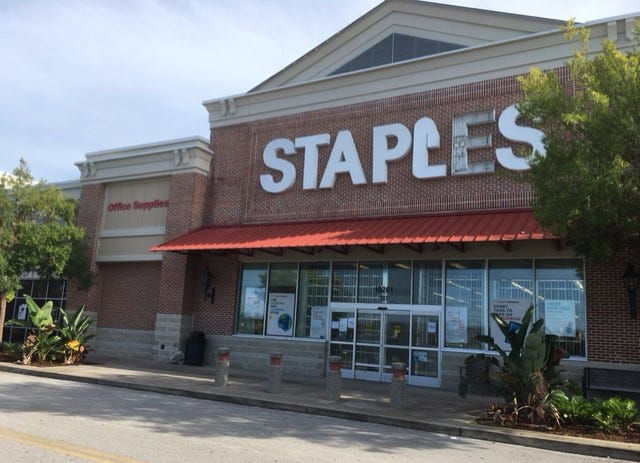 Staples at St. Johns Town Center in Jacksonville will close permanently on Friday. Most of its merchandise already had been sold by Wednesday.