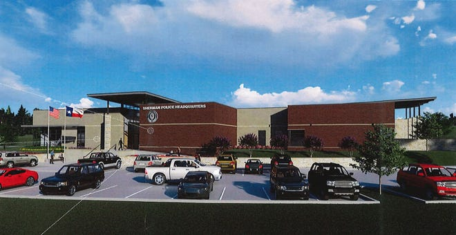 An artist rendering shows current plans for the new Sherman Police Station. The project reached a milestone this week when plans for it were approved by Sherman Planning and Zoning.