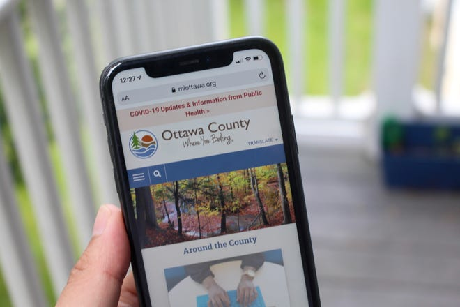 The Ottawa County mobile website is displayed on Wednesday, July 21, 2021. The county recently received national recognition for the use of online services.