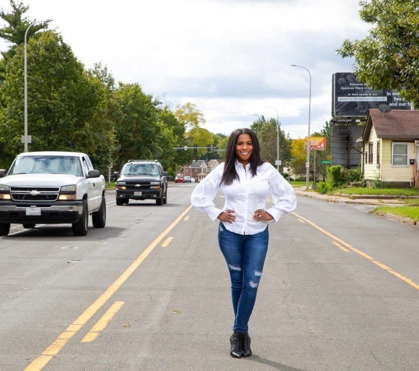 State Rep. Jehan Gordon-Booth (D-Peoria) stands along the MacArthur Highway business corridor in South Peoria. Gordon-Booth secured $10 million for the corridor in the state capital bill.
