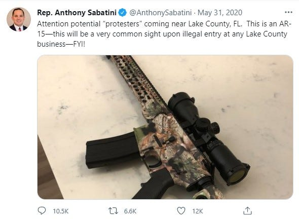 A May 31 tweet from State Rep. Anthony Sabatini.