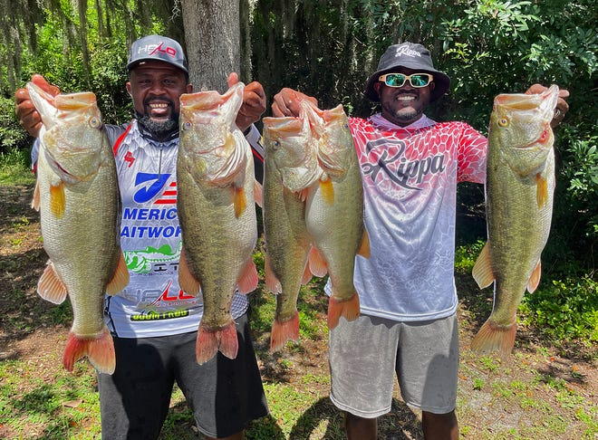 Terry Pierce, left, and Tramell Vickers had 33.09 pounds and a 9.37-pound big bass to win the Xtreme Bass Series Central Florida Division tournament July 18 on the North Winter Haven Chain.