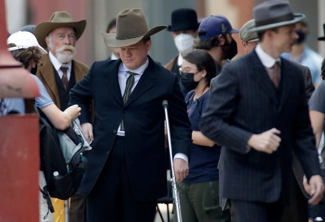 """Actor Jesse Plemons works on set during filming of Martin Scorsese's movie adaptation of the book """"Killers of the Flower Moon"""" Tuesday, July 20, 2021 in Pawhuska, Okla."""