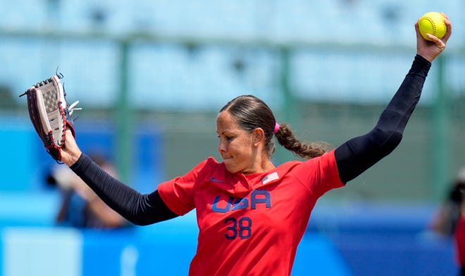 U.S. pitcher Cat Osterman winds up during Wednesday's 2-0 win over Italy in an Olympic softball opener in Fukushima , Japan.