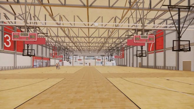 A rendering of the basketball courts inside the Young Family Athletic Center is shown in this screengrab.