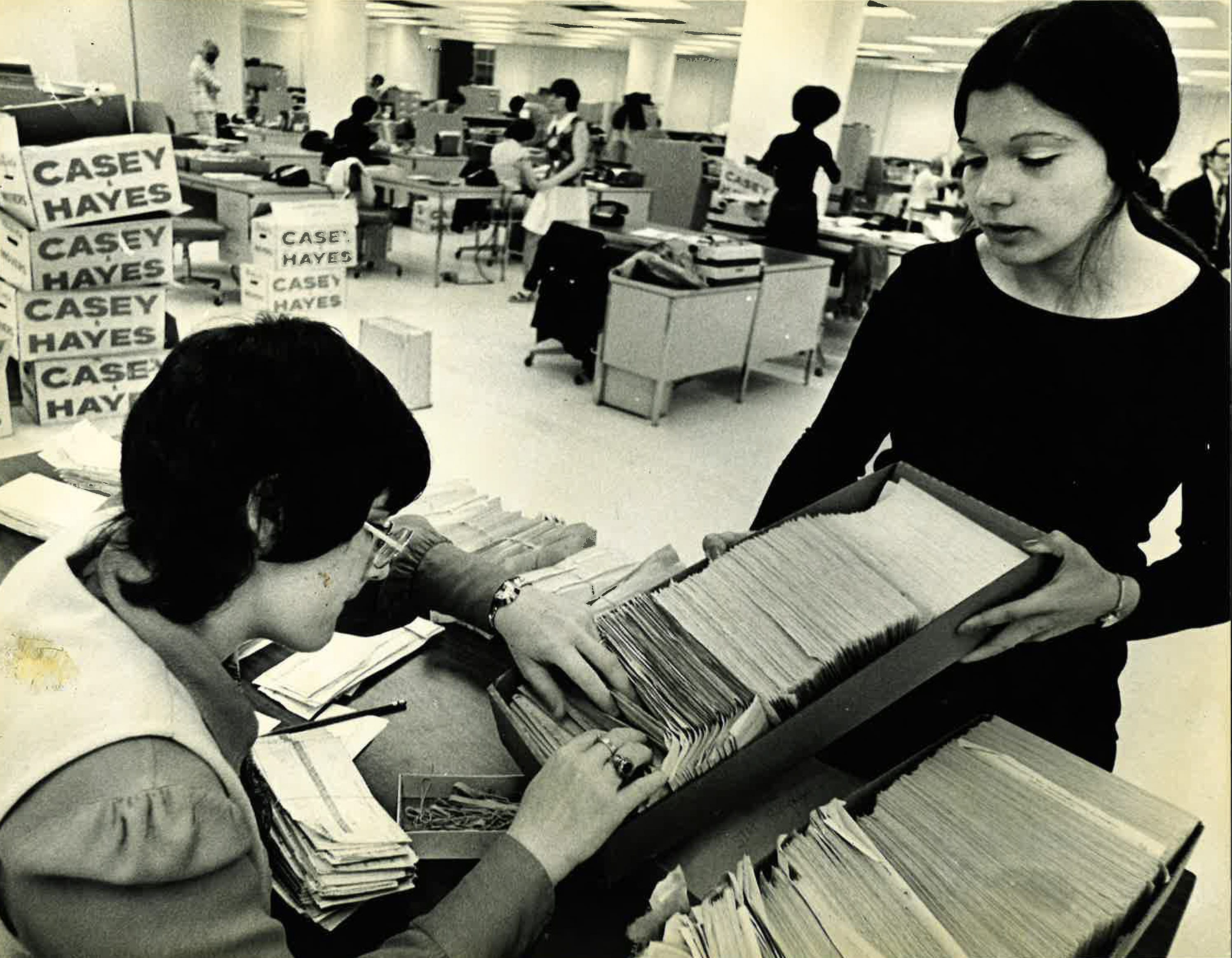 State Street Bank employees Diane Barresi, left, and Jayne Miller, both of Quincy, sort files moved into the then-new State Street South complex in May 1973.
