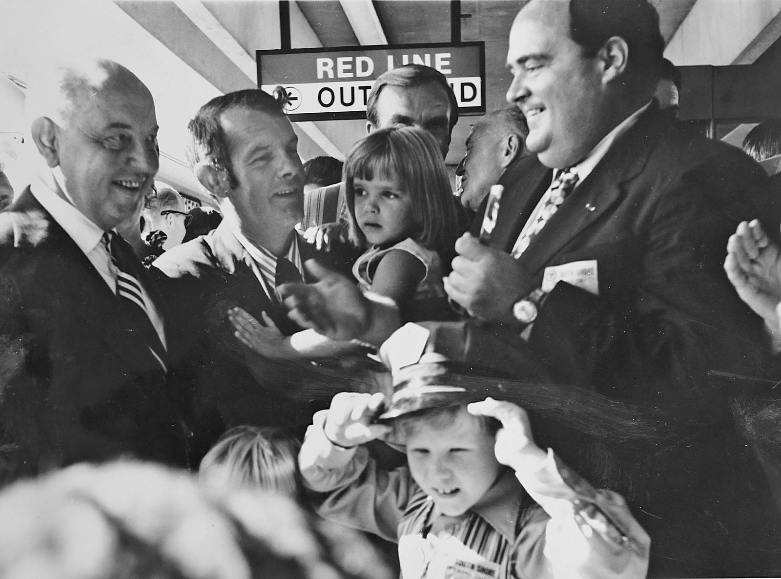 A photograph of the opening day of the Red Line in Quincy in 1971 from the Quincy Historical Society collection.