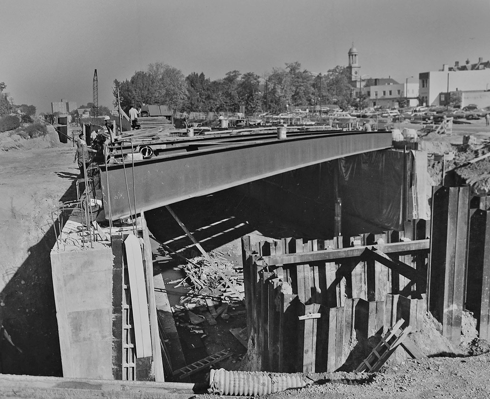 An image of MBTA Red Line construction in Quincy from the Quincy Historical Society collection.