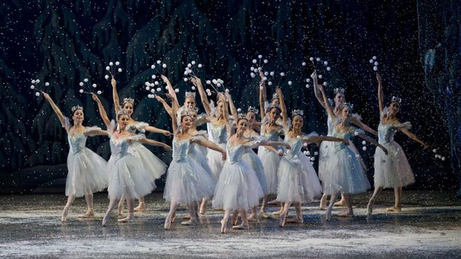 The beautiful snow scene, from Miami City Ballet's version of The Nutcracker, at the Kravis Center. The performance will mark the return of the Miami City Ballet to the Kravis Center after a year's absence due to the COVID-19 pandemic. (Photo contributed by Daniel Azoulay)