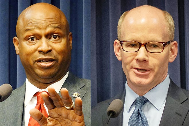 """Lawyers representing Speaker Emanuel """"Chris"""" Welch, left, and Senate President Don Harmon in their official positions as legislative leaders filed a motion to dismiss a lawsuit challenging newly drawn legislative maps."""