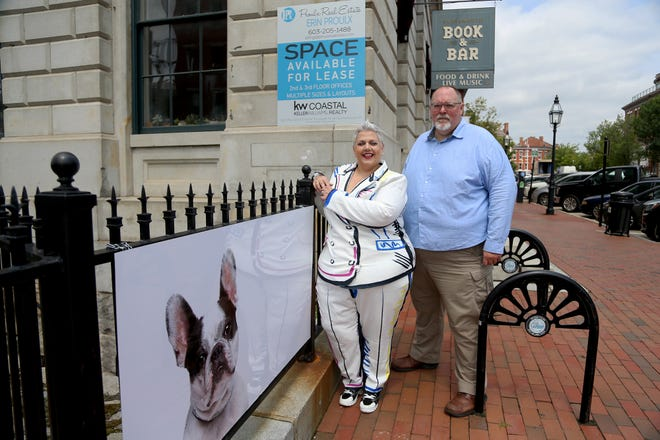 From left, Kimberly Buccheri and Bud Thorpe are the owners of Kimberly Sarah Photography, a business born in Manchester that recently relocated to 40 Pleasant Street beneath the quaint Book & Bar.