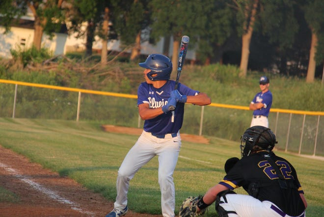 Perry's Juan Hernandez waits for the pitch during a game against Nevada on July 12. Hernandez was named honorable mention in the Raccoon River all-conference team.