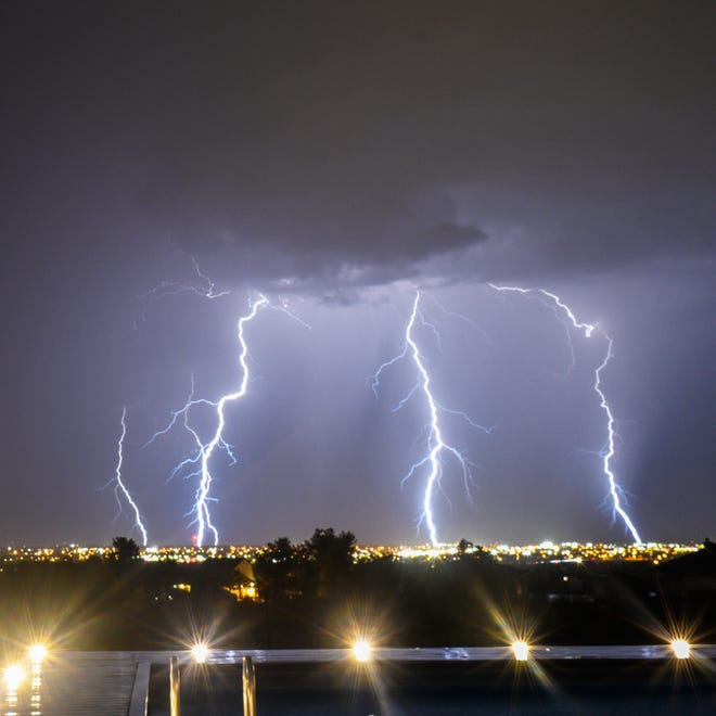 A lightning show lit up the sky above College Heights in Ridgecrest the night of July 18, 2021.