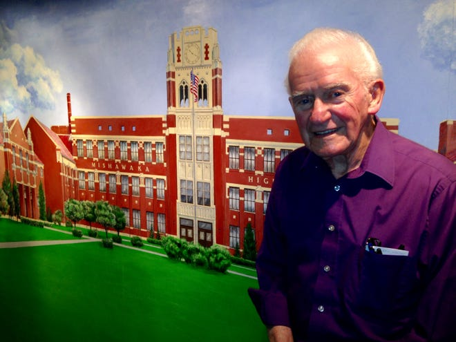 Former Tribune sports editor and cartoonist Tom Hayes painted this interpretation of Mishawaka High School on his basement wall.  He died July 8 at the age of 95.