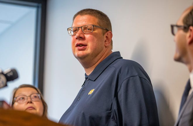 Andy Royer speaks during a press conference at Notre Dame Law School's Exoneration Justice Clinic in South Bend on Wednesday, July 21, 2021, after his murder case was dismissed. Royer, a mentally disabled man, served 16 years in prison for in the 2002 death of a 94-year-old woman in Elkhart, before a judge overturned his conviction in 2020 and granted a new trial.